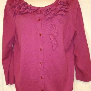 Talbot's Cardigan Sweater L Cotton Blend